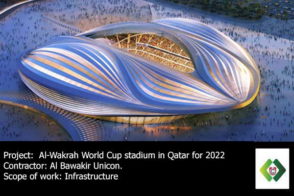 Al Bawakir Unicon had been awarded supplie and construction of Al Wakrah World Cup stadium FIFA 2022